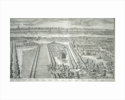 Panoramic view of the City of London and Westminster showing St James's Park by Anonymous