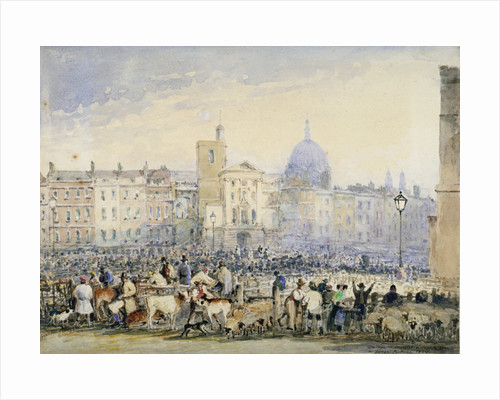 View of Smithfield Market with figures and animals, City of London by Anonymous