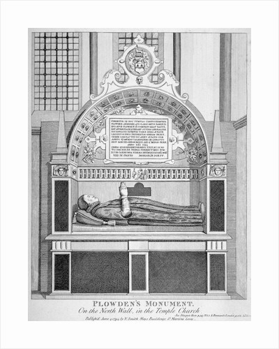 Memorial to Edmund Plowden, Treasurer of the Middle Temple, Temple Church, City of London by Anonymous