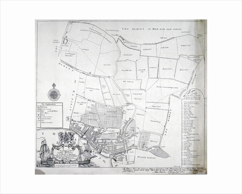 Map and table of Limehouse in the Parish of Stepney, London by R Carwright