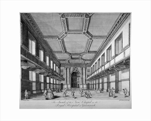 Interior view of the new chapel, Royal Naval Hospital, Greenwich, London by George Bickham