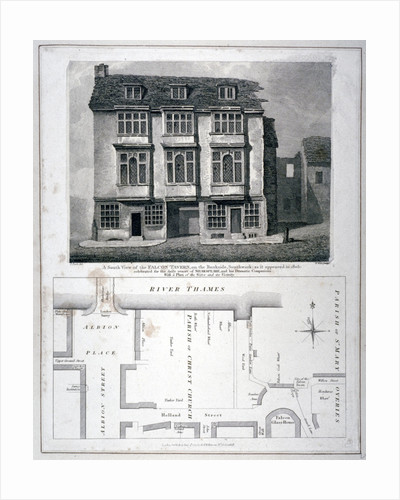 South view of the Falcon Tavern, Bankside, Southwark, London, as it appeared in 1805 (1811) by Anonymous