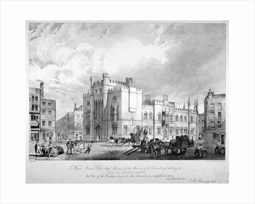 View of the City of London School, Honey Lane Market, Milk Street, City of London by Thomas Hosmer Shepherd