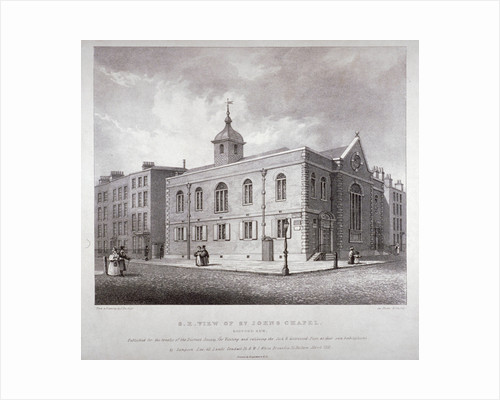 South-east view of St John's Chapel, Bedford Row, Holborn, London by Frederick Nash