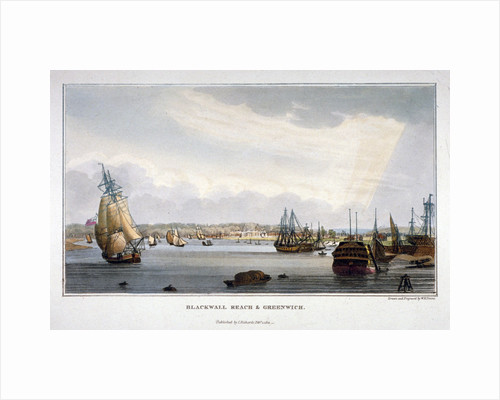 View of water vessels on the River Thames showing Blackwall and Greenwich, London by Anonymous