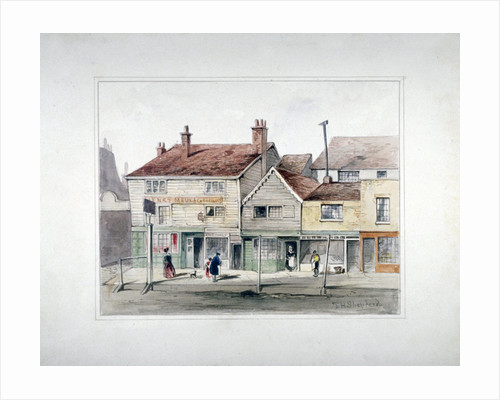 The Hare and Hounds Inn and shopfronts on Upper Street, Islington, London by Thomas Hosmer Shepherd