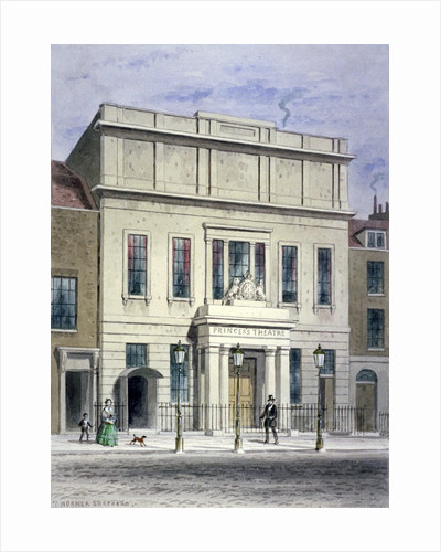 North front of Princess's Theatre on Eastcastle Street, St Marylebone, London by Thomas Hosmer Shepherd