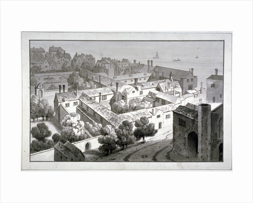Bird's-eye view of the Bishop of Winchester's palace, Southwark, London by George Shepherd