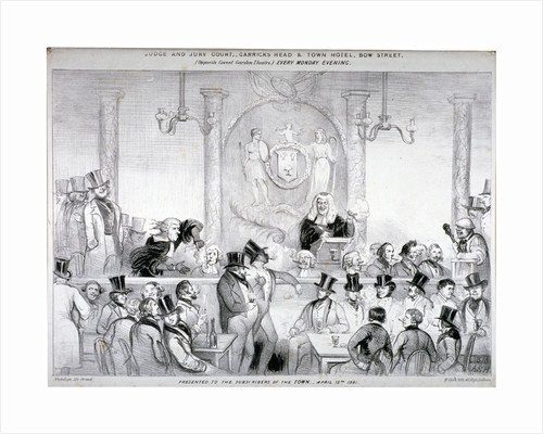 Interior view of the  'Judge and Jury Court' in the Garrick's Head Tavern, Bow Street, London by W Clerk