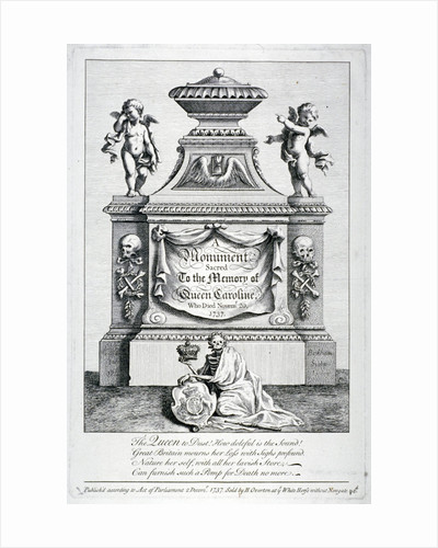 Monument to Queen Caroline, consort of George II, Westminster Abbey, London by George Bickham