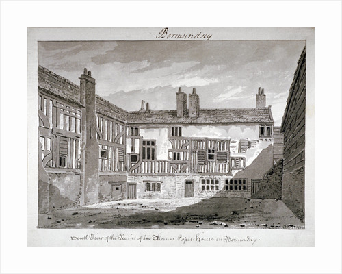 South view of the remains of Thomas Pope's house, Mill Lane, Bermondsey, London by John Chessell Buckler