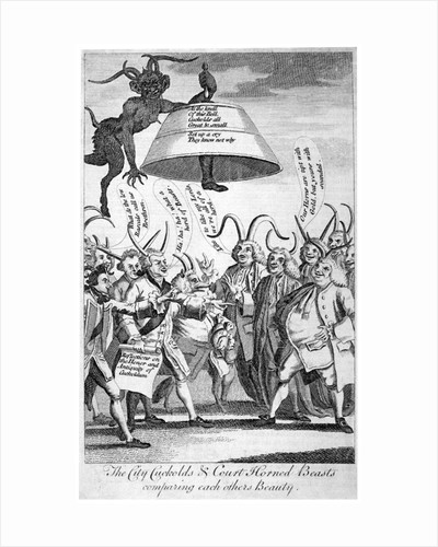 The City cuckolds & Court horned beasts comparing each other's beauty by Rosalind Thornycroft