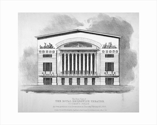 Front view of the Royal Brunswick Theatre, Goodman's Fields, Stepney, London by Anonymous