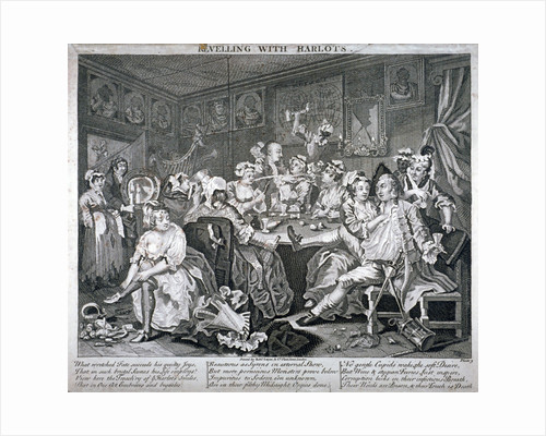 Revelling with Harlots, plate III of A Rake's Progress by Anonymous