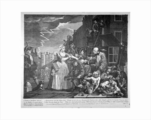 Plate IV of A Rake's Progress by William Hogarth