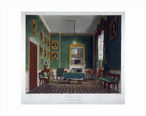 Interior view of the green closet in Buckingham House, Westminster, London by Daniel Havell