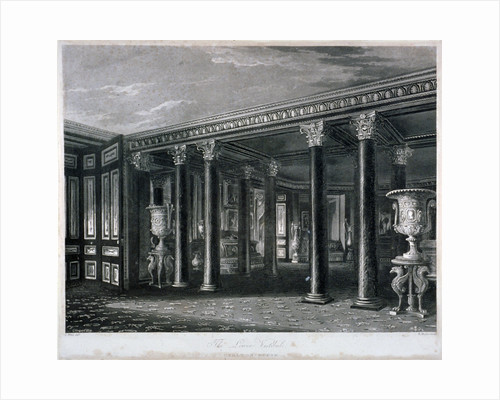 Interior view of the lower vestibule in Carlton House, Westminster, London by Charles Giraud