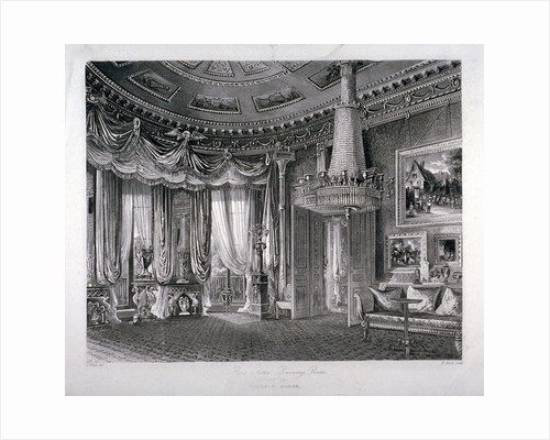Interior view of the Rose Satin Drawing Room in Carlton House, Westminster, London by RG Reeve