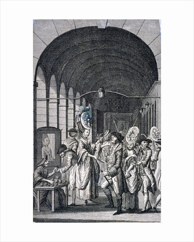 Bawds and pickpockets around a trader at Covent Garden piazza, Westminster, London by Anonymous