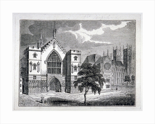 Westminster Hall from New Palace Yard with a view of Westminster Abbey, London by Wenceslaus Hollar