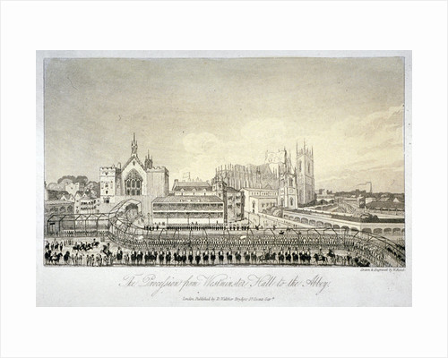 Procession outside Westminster Hall, London by W Read