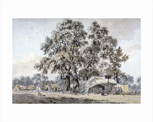 Army camp in Hyde Park, London by Samuel Hieronymus Grimm
