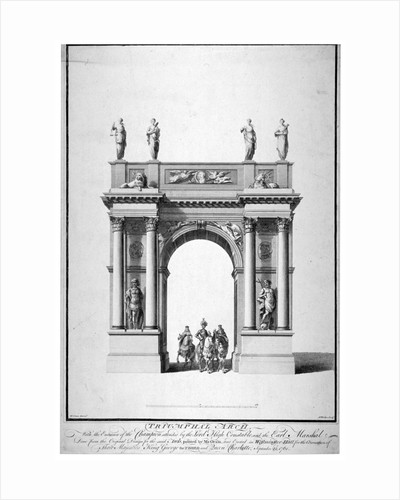 Triumphal arch on the west end of Westminster Hall, London by Charles Joseph Hullmandel