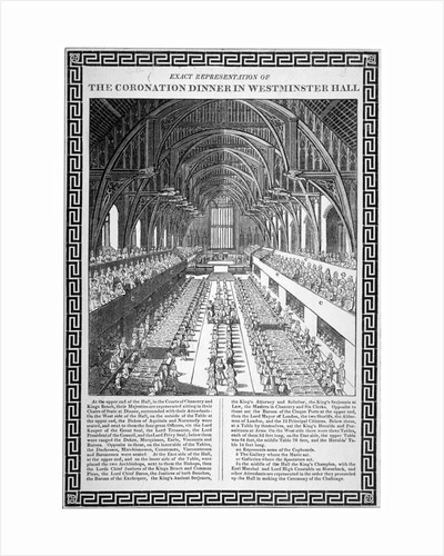 Coronation dinner held for George IV, Westminster Hall, London by Anonymous
