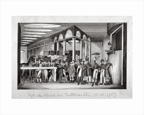 Interior view of a horse sale yard, possibly Tattersall's, Hyde Park Corner, London by Anonymous