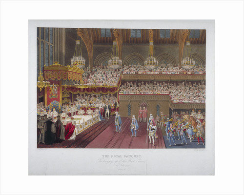 Coronation banquet of King George IV, Westminster Hall, London by Robert Havell
