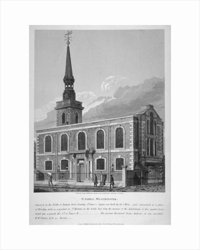 View of St James's Church, Piccadilly from Jermyn Street, London by Joseph Skelton