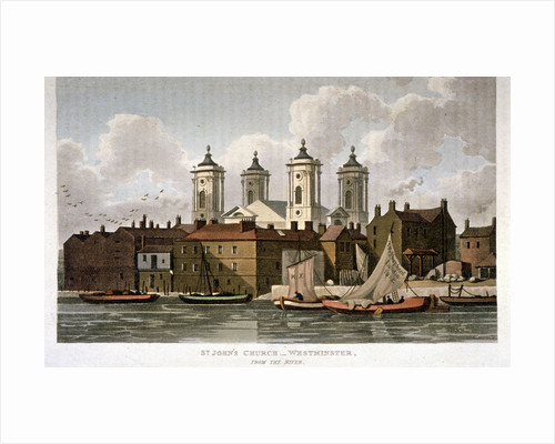 Church of St John the Evangelist from the River Thames, Westminster, London by Carl Mayer