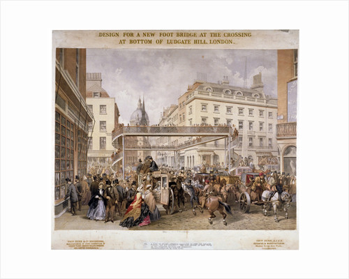Design for a new footbridge at the crossing Ludgate Hill and Fleet Street, City of London by Kell Brothers