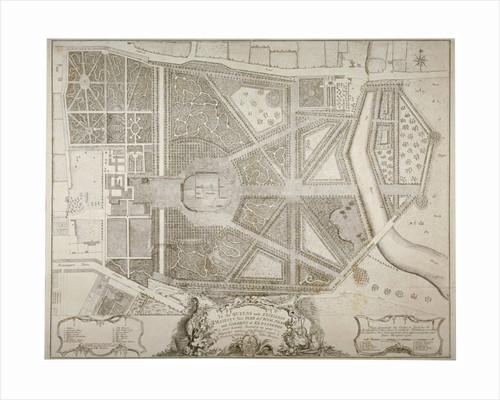 Plan of Kensington Palace and gardens, London by John Rocque