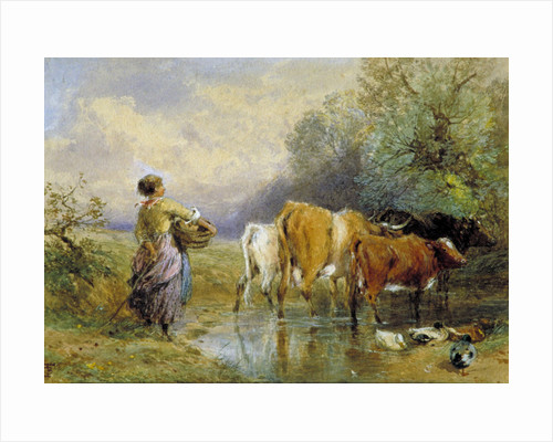 A Girl driving Cattle across a Stream by Anonymous