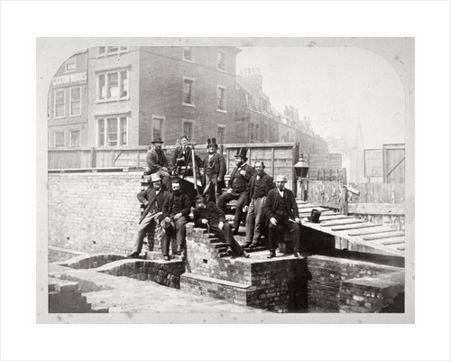 Group portrait of the Holborn Valley Improvements Committee at Holborn Viaduct, London by Henry Dixon