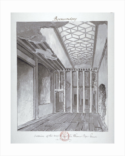 Interior of the west wing of Sir Thomas Pope's House in Bermondsey by John Chessell Buckler