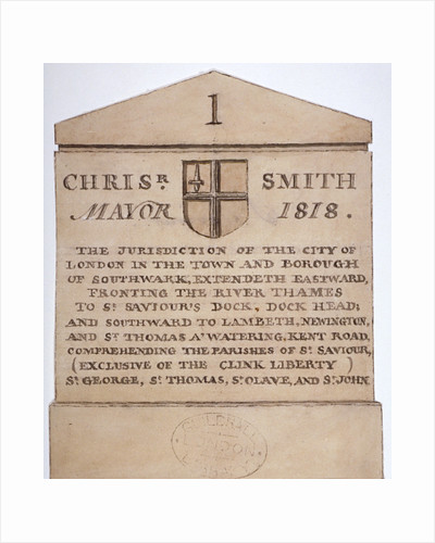 Boundary stone between the City of London and the borough of Southwark, London by Anonymous