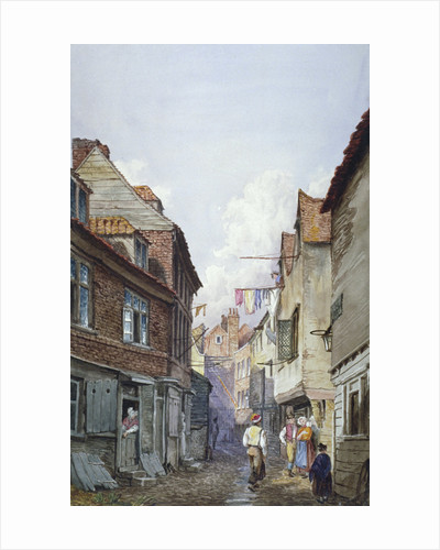 View of figures in Glean Alley, Bermondsey, London by John Chessell Buckler