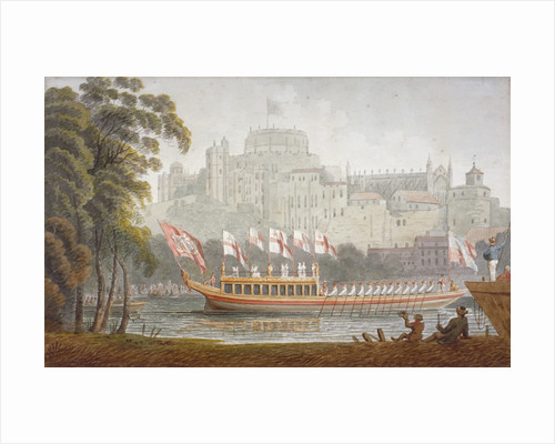 City of London State Barge moving up the River Thames, Windsor, Berkshire by Anonymous