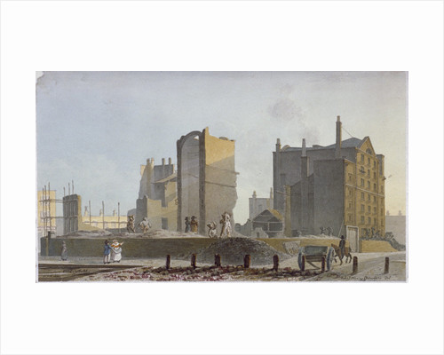 Ruined building, Commercial Road, Stepney, London by Robert Blemmell Schnebbelie