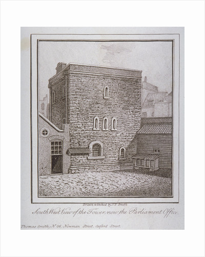 South-west view of the Jewel Tower, Old Palace Yard, Westminster, London by John Thomas Smith