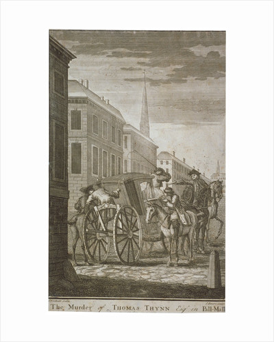 Scene of Thomas Thynne's murder in Pall Mall, Westminster, London, 1682 (c1775) by James Basire I