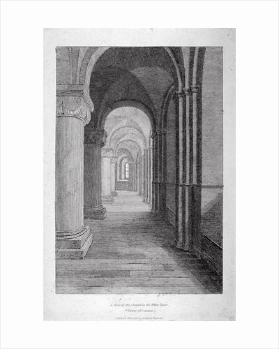 Interior view of the south aisle of St John's Chapel in the White Tower, Tower of London by J Lee