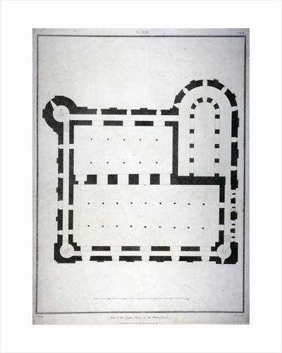 Plan of the upper storey of the White Tower, Tower of London by James Basire II