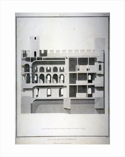 Section of the White Tower, Tower of London, from east to west by James Basire II