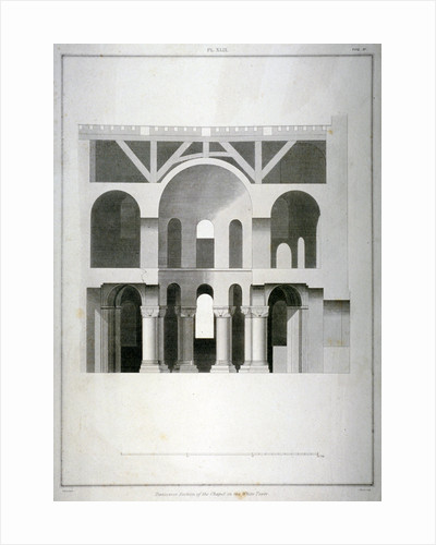 Transverse section of St John's Chapel in the White Tower, Tower of London by James Basire II