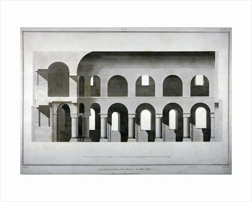 Longitudinal section of St John's Chapel in the White Tower, Tower of London by Edward Blore