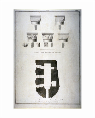 Plan of the cells under the chapel of the White Tower, Tower of London by J Lee