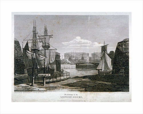 View of the entrance to London Docks, Wapping by T Matthews